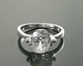 Original Solitaire Ring, Sterling Silver, Original Oval Setting Ring, 1.5ct White Lab Diamonds simulant (CZ),  Modern Designer Jewelry