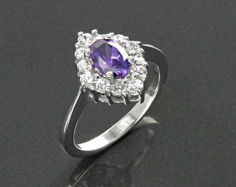 Purple Marquise Ring, Sterling Silver, White Stones (CZ), Oval Amethyst Stone (CZ), Engagement Ring, Valentine's Day, Woman Gift