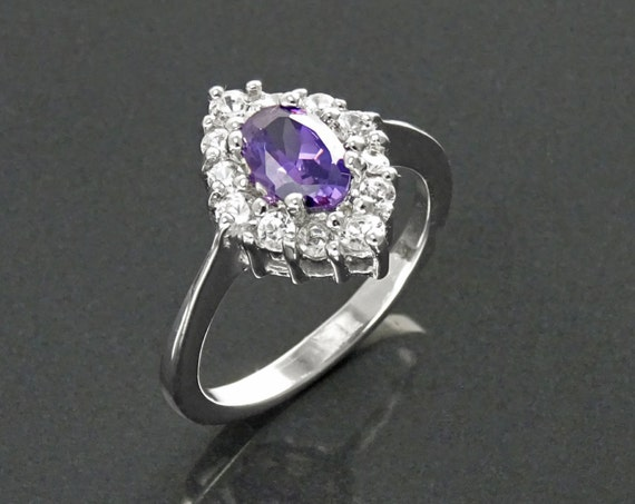 Purple  Marquise Ring, Sterling Silver, Lab Diamond simulant (CZ), Lab Amethyst simulant (CZ), Engagement Ring, Valentine's Day, Mothers Day