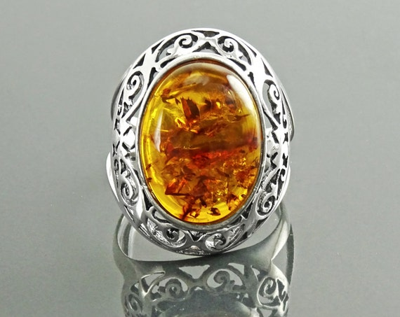 NATURAL Amber Filigree Ring, Sterling Silver, Genuine Amber Ring, Statement Oval Ring, Amber Gemstone, Vintage Ring, Boho Antique Jewelry