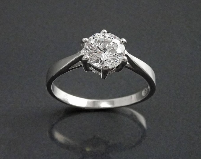 Solitaire Ring, 2ct Round Stone Classic Cz, Engagement Jewelry, Promise Ring, Sterling Silver, Valentine's Day Gifts