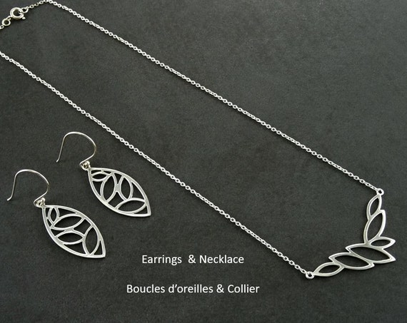 Autumn leaves set, Sterling silver 925, handmade, designer necklace and earrings , choker and earrings, gift, woman, fall foliage