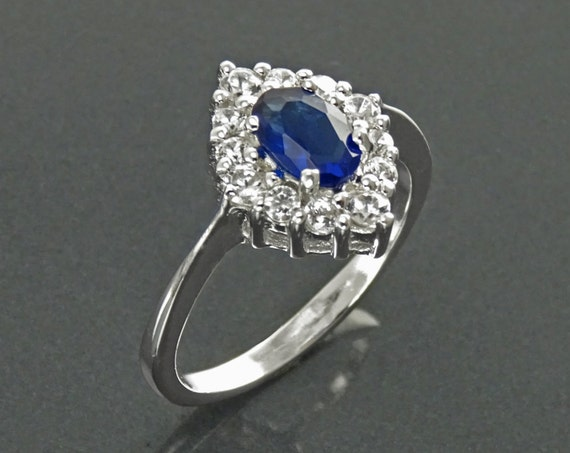Blue Marquise Ring, Sterling Silver, Lab Diamonds simulant (CZ) and Lab Blue Sapphire simulant (CZ) Stones Ring, Classic Stone Jewelry