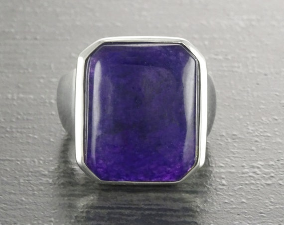 GENUINE Dark Amethyst Ring, Sterling Silver, Unique Purple Jewelry, Unisex Gemstone Ring, February Birthstone, Large Violet Rectangle Stone