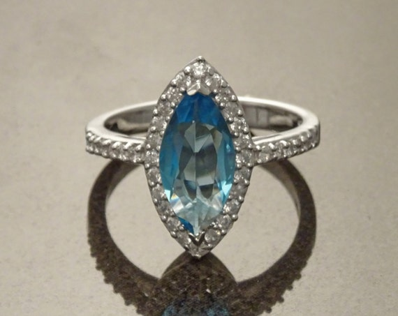 Blue Marquise Ring, Halo Ring, Diamonds simulant (CZ),  Lab Topaz simulant (CZ), Sterling Ring, Engagement Ring, Wedding Ring