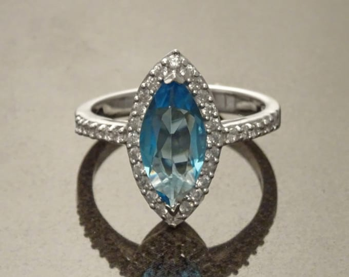 Blue Oval Ring, Sterling Silver, Square ring, Marquise Form Shape, Blue stones Cz and White Stone CZ, Woman Cocktail Jewelry, Woman Gift
