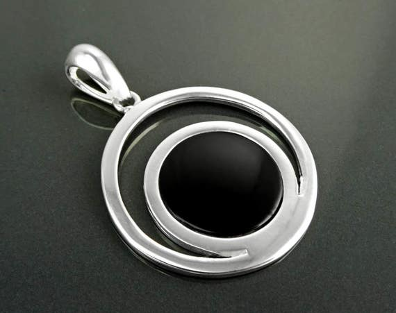 Moon Planet Earth Symbol Pendant, Sterling Silver, Black Onyx, Modern Minimalist Jewelry, Round Flat Stone,Cut Out Double Horn Crescent Moon