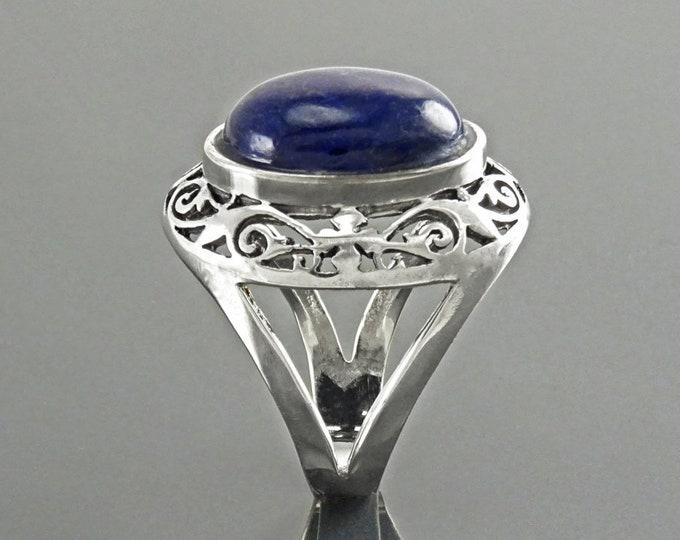 NATURAL Lapis Ring, Sterling Silver, Genuine Bleue Lapis Ring, Oval Ring, Lapis Lazuli Stone, Vintage Ring, Antique Filigree, Statement Ring