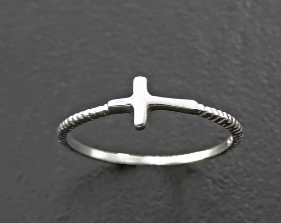 Side Cross Ring - Sterling Cross Ring - Stacking Rings - Sideway Cross Ring - Cross Jewelry - Religious Jewelry - Sign Ring - Midi ring