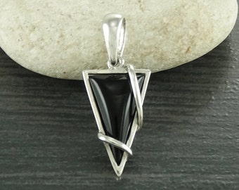 Black Small Pendant, , Silver, Pendant, Triangle, 925, Sterling Silver, Modern Style, Filigree, Original, Unique, Jewelry, Gift, Jewelry.
