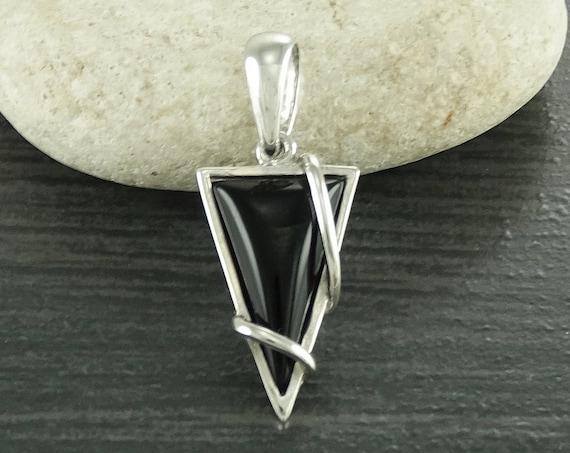 Small, Pendant, Black, Silver, Pendant, Triangle, 925, Sterling Silver, Modern Style, Filigree, Original, Unique, Jewelry, Gift, Jewelry.