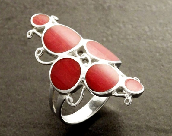 Red Gorgonian Ring - Sterling Silver 925 -  Red Coral Design Ring - Intricate Round Forms Ring - Boho jewelry - Red Stones Ring.