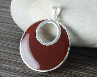 Red Round Pendant, Sterling Silver, Big Red Stone Jewelry, Unique Geometric Minimalist  Moon Necklace