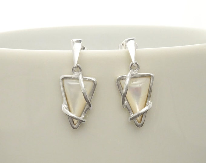 Triangle Earrings, Sterling Silver, White Shell Stone, Modern Geometric Jewelry, Genuine Mother of Pearl Shell, Women Gift