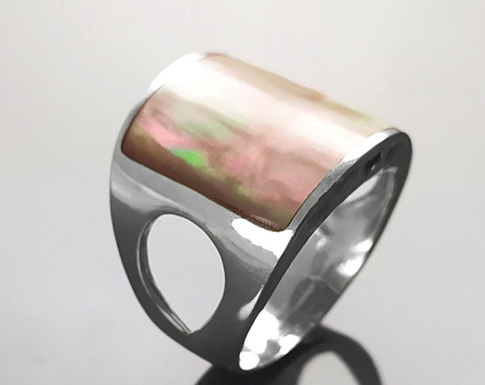 Square Brown Ring, Sterling Silver, GENUINE Paua Shell Rainbow Gold Color Jewelry, Minimalist Geometric Stone Ring, Bold Designer Cuff Ring