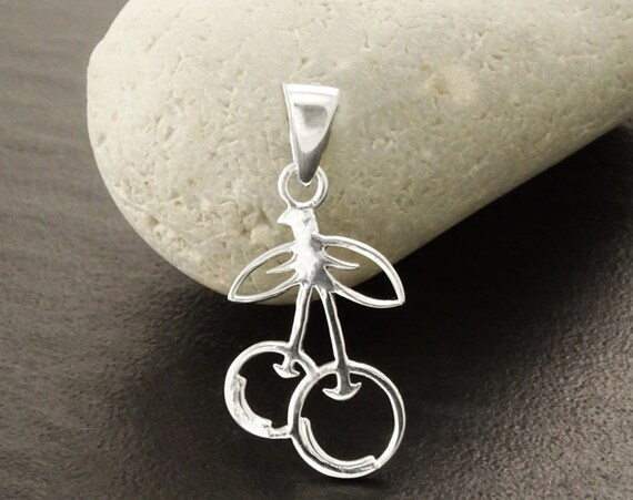 Silver Cherries Pendant, Nature Inspiring Jewelry, Sterling Silver, 925, Cherries Jewelry, Silver Jewelry, Fruit Gift Idea. Filigree Pendant