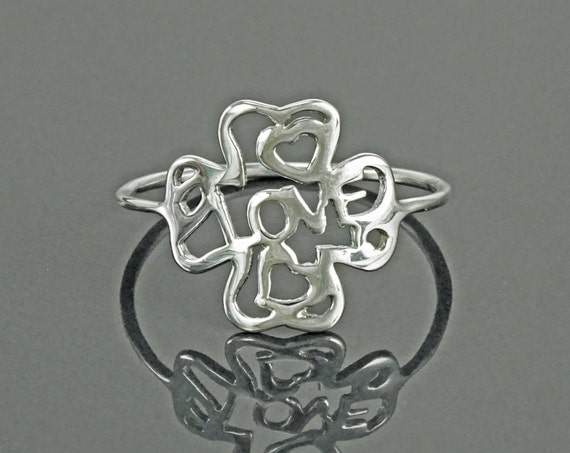 Love Ring, Sterling Silver, Four Leaf Clover Lucky Charm, True Love Waits Ring, Best Friends Secret Ring, Girlfriend, Valentine's Day Gift