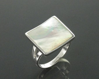Square Ring, Sterling Silver, Geometric White Stone Ring, GENUINE Mother of Pearl Shell , Modern Curved Jewelry, Rainbow Color