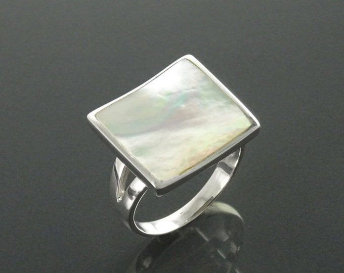 Withe Square Ring, Sterling Silver, Geometric White Stone Ring, GENUINE Mother of Pearl Shell , Curved Stone, Modern Geometric Jewelry
