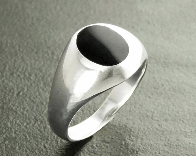 Onyx Signet Ring, Sterling Silver, Black Oxford Oval Signet Ring, Hipster Mens Ring, Man Ring, Black Signet Ring, Men Popular Ring, Pinky