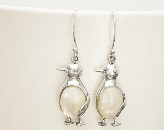 Penguin Earrings - Sterling Silver, Bird Earrings, Bird Jewelry, Penguin jewelry, Mop Earrings, Dainty Earrings, Shell Earrings, Animals.