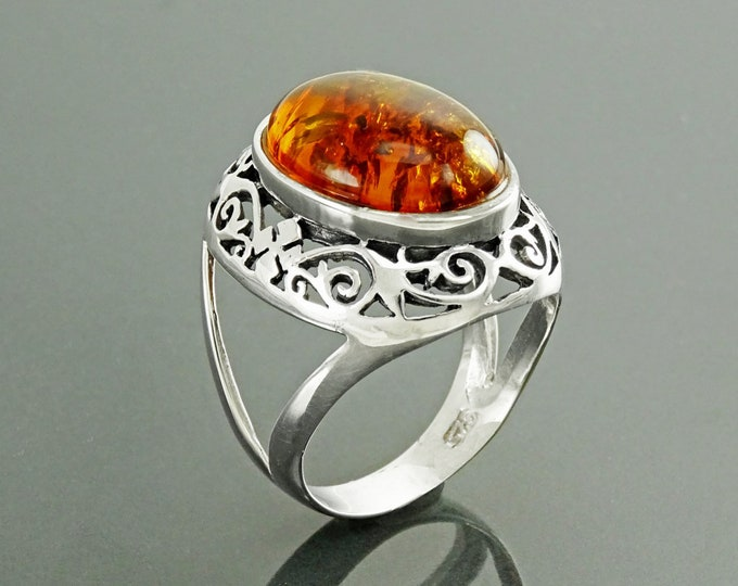 Amber Filigree Ring, Sterling Silver, Genuine Amber Ring, Statement Oval Stone Ring, Amber Gemstone, Vintage Ring, Boho Antique Jewelry