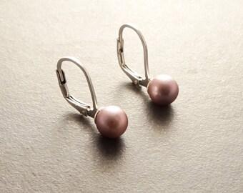 Purple Pearl Earrings, Sterling Silver, 6 mm GENUINE Shell Pearl, Lever Back Earrings, Minimalist Jewelry, Prom, Wedding, Bridesmaids Gifts