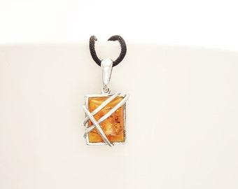 Genuine Amber Pendant, Sterling Silver Pendant, Square shape, Amber Gemstone Jewelry, Modern Intricate Filigree Design, Dainty Pendant.