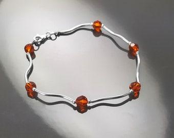 Red Cristal Bracelet, Sterling Silver 925 - Beaded Stones Bracelet. Modern Jewelry. Red stone Bracelet - Small Bracelet, Minimalist Jewelry.