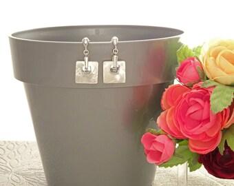 Shell Dangle Earrings - Sterling Silver Earrings - Shell Earrings - Square Shape - Pearl Earrings - Mother of Pearl - Bridesmaids earrings