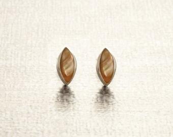 Oval Stud Earrings, Sterling Silver, GENUINE Brown Paua Shell Iridescent Pearl Rainbow Highlights, Geometric Minimalist Dainty Earrings