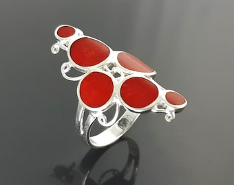 Red stone Ring, Sterling Silver 925, Unique Design Ring, Modern Red Stone, Red Coral Design Ring, Round Forms Ring.