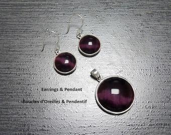 Purple Earrings Set, Sterling Silver, Round Stone Pendant Set, Violet Cat's Eye Stones Jewelry, Modern Minimalist Geometric Jewelry