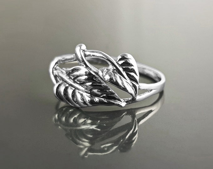Cordate Leaf Ring, Sterling Silver, Plant Ring, Filigree Branch, Open Work Ring, Skeleton Leaves Veins Ring