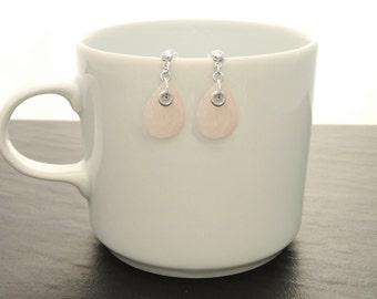 Pink Stone Earrings, Sterling Silver, Rose Quartz Earrings, Teardrop Stones, Gemstone Earrings, Dainty Earrings, Birthstone Jewelry