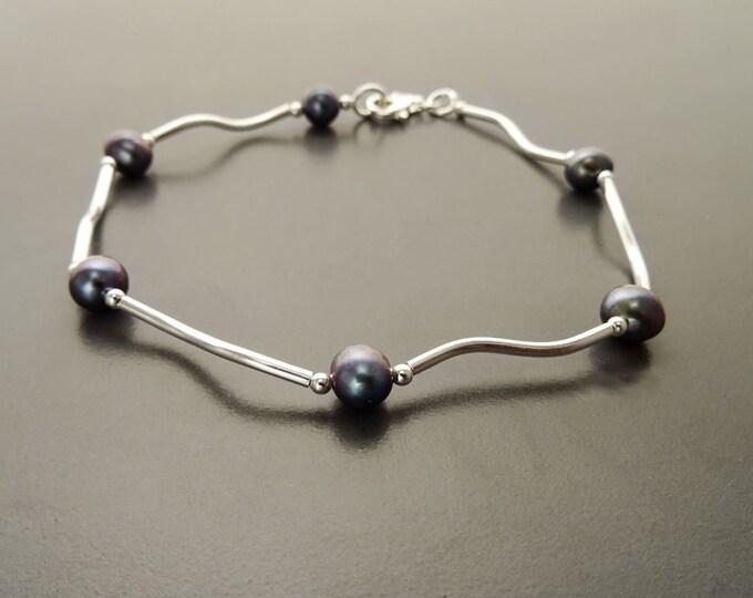 Paua Pearl Bracelet, Sterling Silver, Tahitian Style Blue Gray Color Shell Pearls Beads Balls Bracelet, Modern Minimalist Jewelry