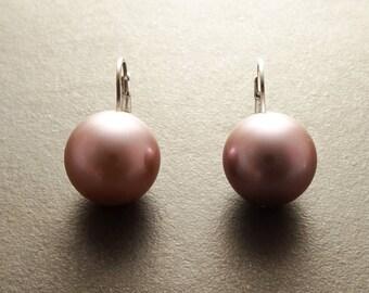 Purple Pearls Earrings, Sterling Silver, GENUINE Shell Pearls, Lever Back Earrings, 14mm Balls Pearl Earrings, Minimalist Jewelry