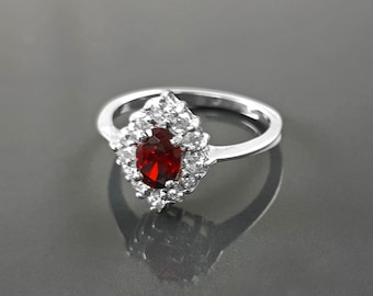 Red Stone Ring, Sterling Ring, red color Stone (CZ), Marquise ring, Cluster Ring, Engagement Ring, Valentines Day Gift