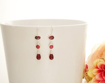 Red Stone Earrings - Sterling Silver - Hook Earrings - Drop Earrings - Red Stones Cz - Long silver earrings - Modern - Dangly