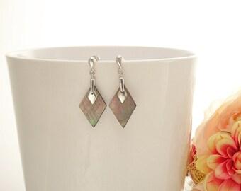 Grey Square Earrings - Sterling Silver, Genuine Gray Paua Shell Earrings, Gray Flat Earrings, Dangle Modern Earrings