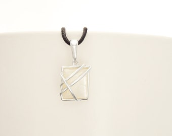 White Stone Pendant, Sterling Silver, Hipster Jewelry, Genuine Mother of Pearl Shell, Modern Square Pendant Necklace