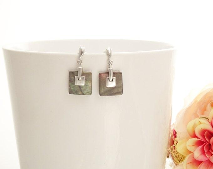 GENUINE Gray Paua Shell Square Earrings, Sterling Silver, Grey Pearl MOP with Rainbow Highlights, Geometric Jewelry, Modern Dangle Earrings