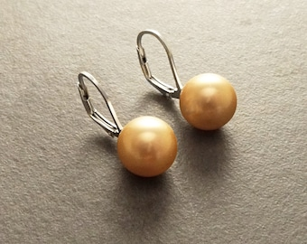 GENUINE Gold Color Shell Pearl Earrings 10 mm, Sterling Silver, Lever Back Minimalist Pearl Jewelry, Prom, Wedding, Bridesmaids Gifts