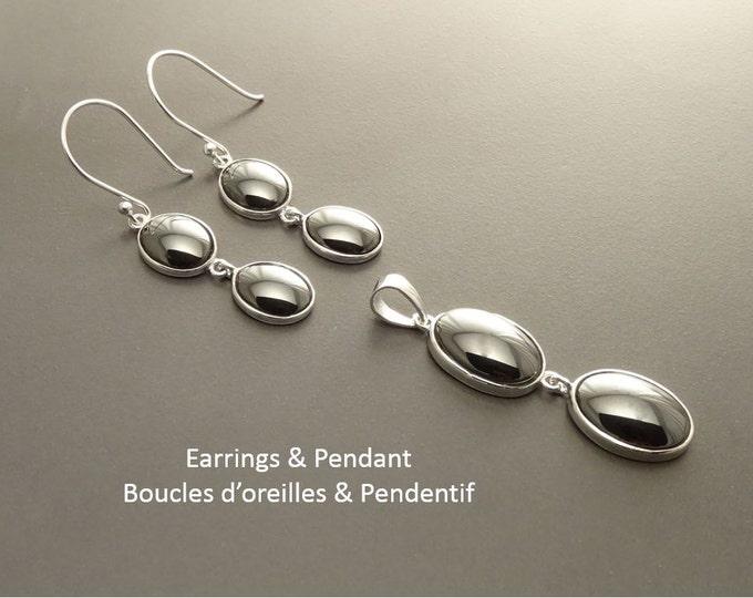 Gray Stone Earrings , Sterling Silver, Grey Hematite Stones Set, Dangle Oval Pendant, Modern Minimalist Drop Gemstone Necklace Gift