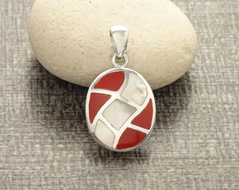 Red Pendant, Sterling Silver, Bicolor Red Stone and Shell White Oval Necklace, Mother of Pearl Modern Geometric Stone Wave Checkered Jewelry