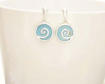 Turquoise Earrings - Blue -Dangle Earrings - Sterling Silver Earrings - Spiral - Blue Earrings - Blue Turquoise - Vintage Style Jewelry.