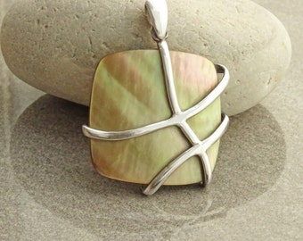 Modern Square Pendant, Sterling Silver GENUINE Gold Paua Shell Pearl, Statement Bold Necklace, Modern Geometric Square Shape Stone Jewelry