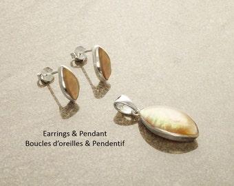 Oval Earrings SET, Sterling Silver, GENUINE Brown Paua Shell, Pearl Rainbow Highlights Pendant , Geometric Minimalist Modern Jewelry