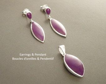 Purple Earrings Set,  Sterling Silver, Oval Earrings and Pendant, Almond Shape, Bright Violet Earrings, Dainty Jewelry, Purple Jewelry.