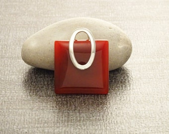 Red Square pendant, sterling silver, red agate color carnelian stone, modern urban minimalist geometric designed stone jewelry